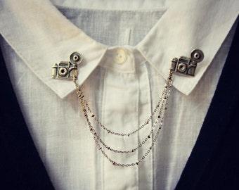 camera collar pins, collar chain, collar brooch, lapel pin, camera pin, camera brooch