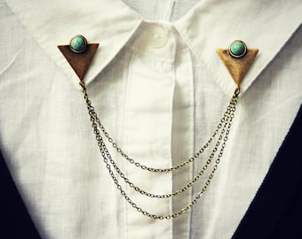 triangle collar pins with turquoise stones, collar chain, collar brooch, lapel pin, triangle pin, triangle brooch