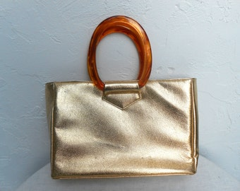 Vintage Gold 1950s Large Purse