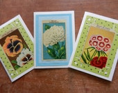 Vintage French Flower Seed Packet Handmade Greeting Card Set of Three - thank you, hello, thinking of you, friend, hostess gift any greeting