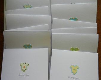 Baby Boy Thank You Note set of 12 Handmade Greeting cards with onesie embellishments in male colors