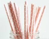 25 Pink Polka Dots Paper Straws - Garden Partys, Wedding, Birthday, Baby Shower, Celebrations