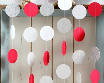 Silver Glitter, White, Red 10 ft Circle Paper Garland- Wedding, Birthday, Bridal Shower, Baby Shower, Party Decorations, Christmas Holiday