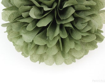 Olive Green Tissue Paper Pom Poms- Wedding, Birthday, Bridal Shower, Baby Shower, Party Decorations, Garden Party