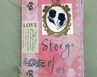 Love, Wedding, Valentine's Day Mixed Media Art Book - Finished Handmade Book - OOAK