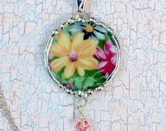 Broken China Jewelry, Pendant Necklace, Yellow and Pink Chintz, Sterling Silver Chain