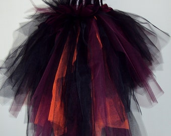 Black Burgundy Orange Tulle Skirt Halloween Goth Steampunk Bride of Dracula  size 4 - 10 U.S. 6 - 12 U.K.