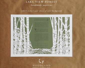 Lake View Forest papercut ketubah | wedding vows | anniversary gift