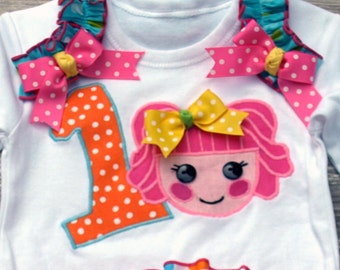 Lalaloopsy inspired SHIRT / TOP Ruffle Bloomers Pageant Birthday Party Outfit Baby Toddler Ruffle Diaper Cover Bloomers Disney Trip Princess