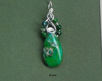 Green Sea Sediment Jasper Teardrop Pendant