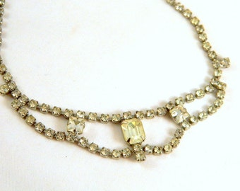Clear Rhinestone Necklace / Vintage 1950s Choker / Bridal Jewelry / Prom Necklace