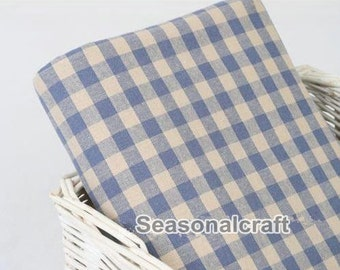 Half Yard Linen fabric for craft, Blue and White Gingham,diy,sewing (QT327)
