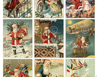 Vintage Santa Christmas Cards ATC backgrounds Collage Sheet Printable Digital Download File