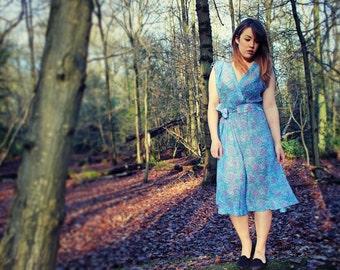 1970's Blue Floral Dress