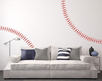 Giant full wall Baseball stitches wall decal