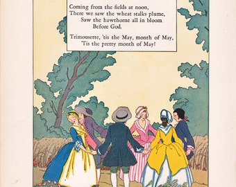 Vintage Children's Nursery Rhyme Illustration by Maud and Miska Petersham from Nursery Friends from France