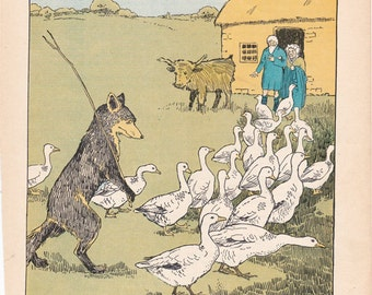 Vintage children's book illustration by Hugh Spencer of a fox and some geese from an old fairy tale book.