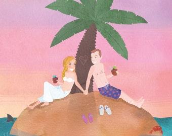 Beach Illustrated Wedding Portrait