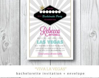 Viva La Vegas | Bachelorette Destination Party Invitation | Printed or Printable by Darby Cards