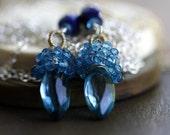 Blue Gemstone Earrings - Chandelier earrings, blue topaz, blue quartz, Lapis Lazuli, wire wrapped