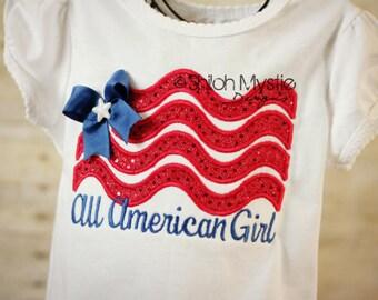 All American Girl Flag shirt-patriotic shirts onesies