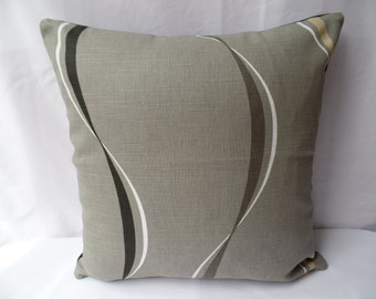 """Clearance Retro black, grey, white, cream swirl lines 16"""" x 16"""" cushion cover, scatter cushion, pillow case"""