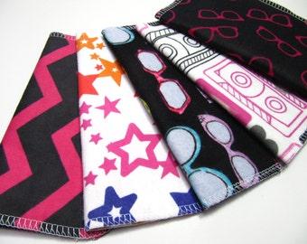 Cloth Napkins, Lunchbox Napkins, 5 Girls Napkins, Eco-Friendly Napkin, Mod Lunchbox Napkins, Back To School Napkins