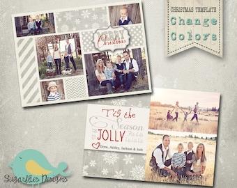 Christmas Card Template PHOTOSHOP TEMPLATE - Family Christmas Card 89