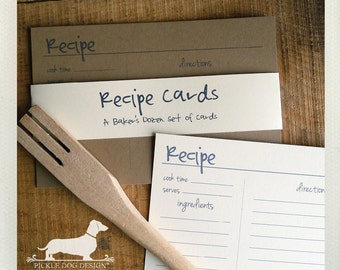 Abby. A Baker's Dozen (Qty 13) Set of Recipe Cards -- (3x5, 4x6, Simple, Classic, Wedding Gift, Bridal Shower Favor, Rustic, Farmhouse Chic)