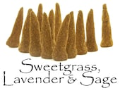 Sweetgrass, Lavender, and Sage, Artisan Hand Made Incense Cones