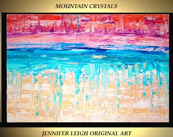 "Original Large Abstract Painting Modern Contemporary Canvas Art Tan Gold Blue Orange Crystals  36""x24"" Palette Knife Texture Oil J.LEIGH"
