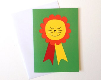 Cute Lion Rosette Card, boys birthday card, fun congratulations card, baby boy card, well done card, new baby card, you're the best card