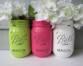 Painted and Distressed Ball Mason Jars- Hot Pink, Lime Green and White-Set of 3-Flower Vases, Rustic Wedding, Centerpieces