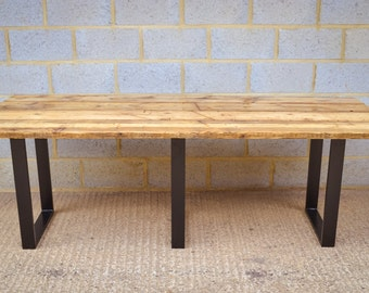 Industrial Reclaimed Dining Table on Steel Base