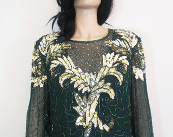 new years eve / christmas / emerald green / gold sequin / beaded vintage art deco dress  l / xl