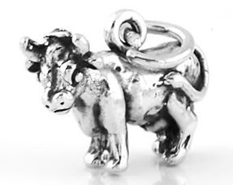 Sterling Silver Live Stock Cow Charm (3d Charm)