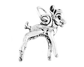 Sterling Silver Deer / Baby Fawn Charm (3d Charm)