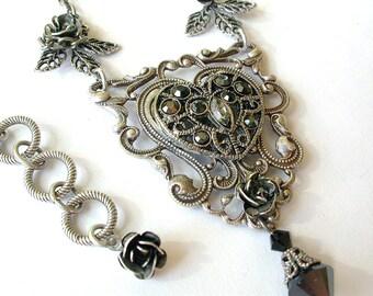Filigree Gothic Heart Necklace  - Hematite Swarovski Crystals - Gothic Jewelry - Gothic Necklace