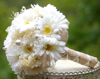 Shabby Chic Bouquet White and Yellow Gebera Daisy