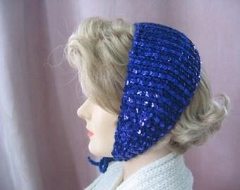 Blue Sequined Hat Headband Sweet 1950's School Girl's Vintage Style Chin Tie Handmade Wool Headband Hat