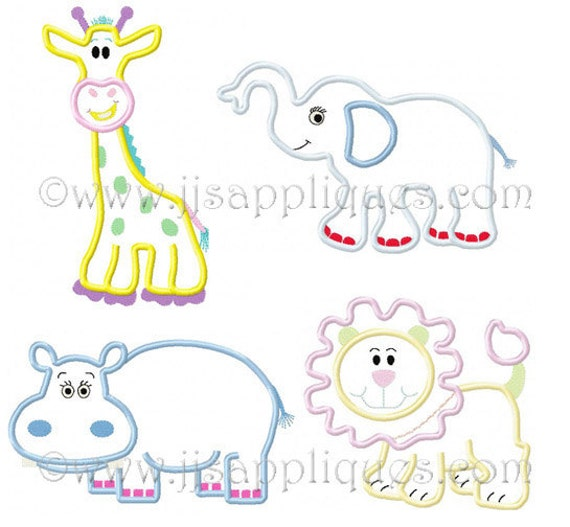 Animal Embroidery Applique Designs Zoo Animals Designs Jungle Animals Safari Animals - 4 Pack 4x4, 5x7, 6x10 hoop sizes Instant Download
