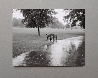 Single Lonely Bench In The Rain, Rain Photography, Black and White Photography, Open Edition Photo, Country Wall Art, Rain Art, Wall Art