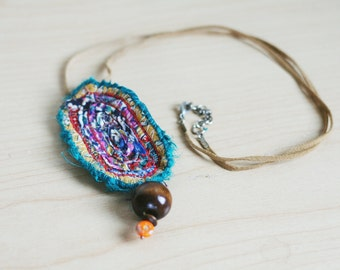 abstract fiber pendant- recycled/eco friendly