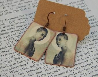 Ethel Waters earrings mixed media jewelry