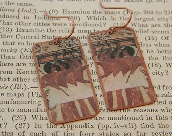 Egyptian earrings Ancient Egypt jewelry mixed media jewelry wearable art