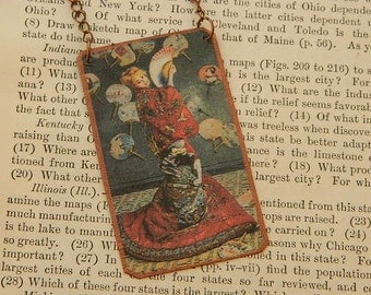 Monet necklace Woman in a Japanese Costume Art jewelry Claude Monet