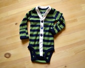 Baby Boy Cardigan - Navy Blue and Green Striped Cardigan - Spring Photo Prop -  Sizes Newborn to 24 Months