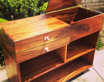 Vinyl Record player console and record storage cabinet