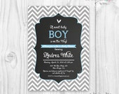 Chalkboard Baby shower invitation blue and grey chevron