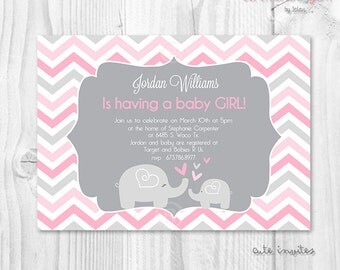Chevron pink and grey baby shower invitation baby elephant